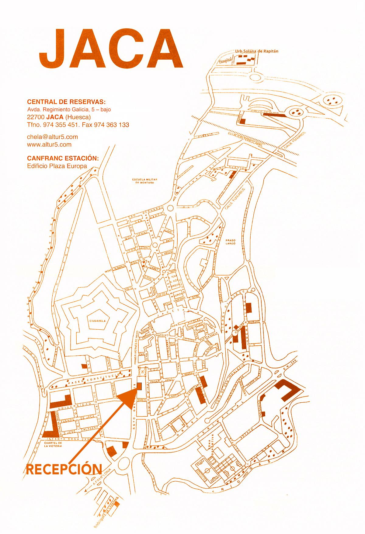 Mapa de ubicación de los apartamentos en Jaca
